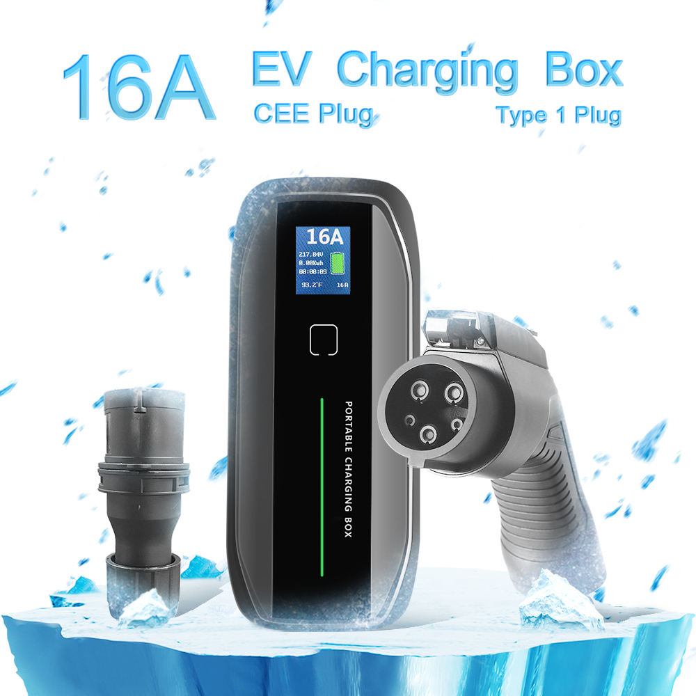 Type 1 16A Portable EV Charger + CEE Plug + LCD