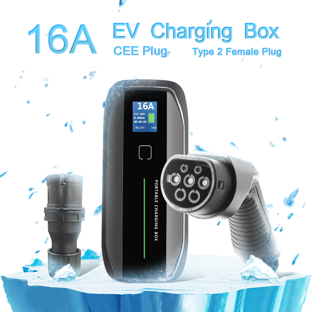 Type 2 16A Portable EV Charger + CEE Plug +LCD display