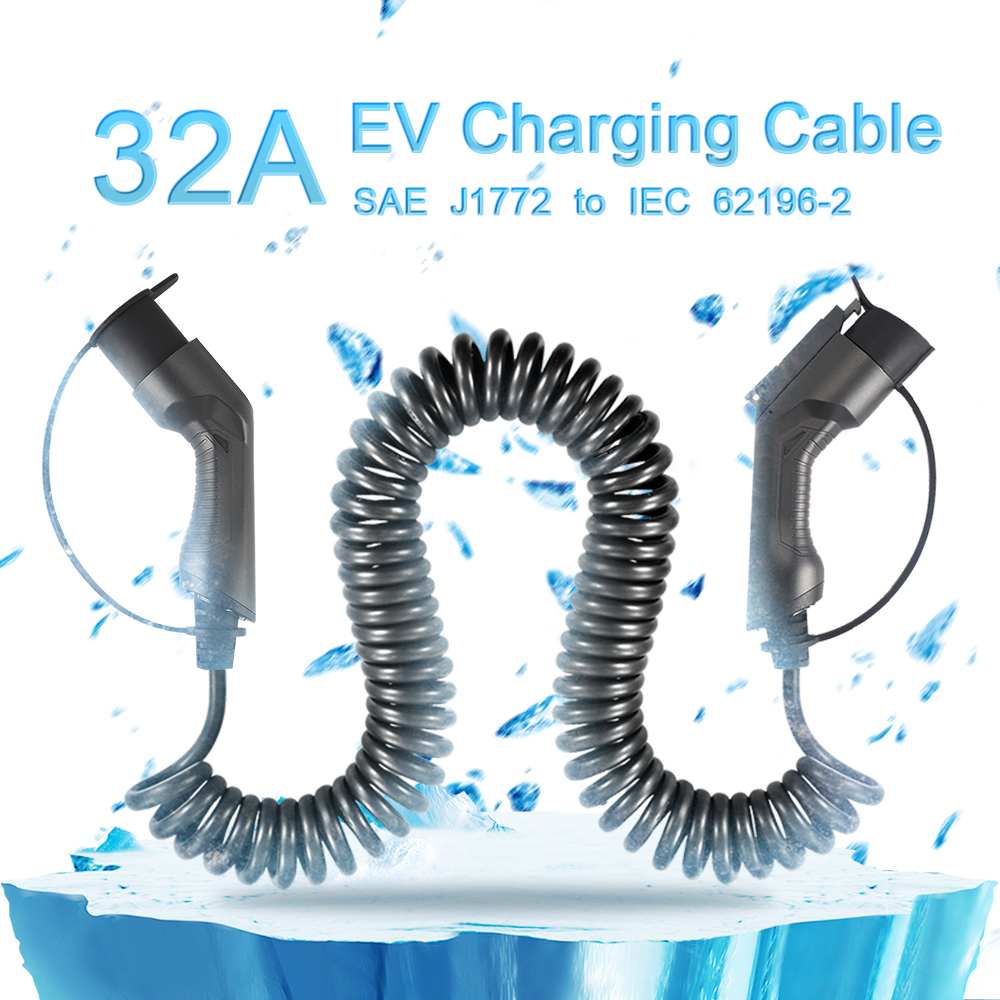 Sae J1772 to IEC 62196 32A Coiled Cable, 5meters