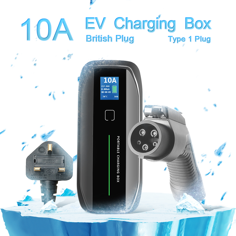 Type 1 10A Portable EV Charger + UK 3Pin Plug + LCD