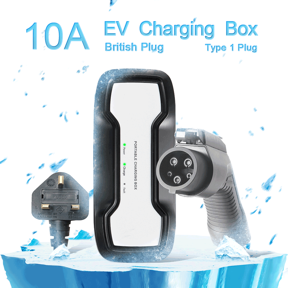 SAE J1772 10A Portable EV Charger + UK 3Pin Plug