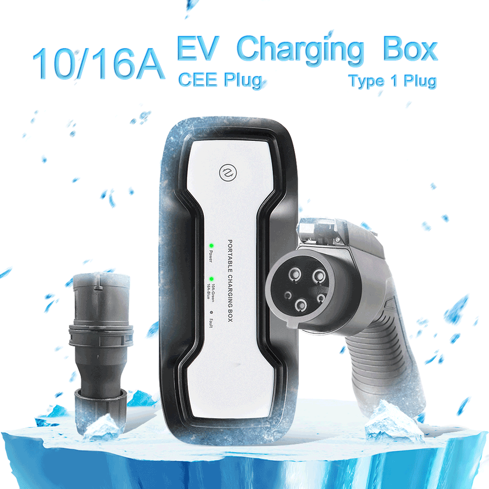 SAE J1772 10/16A adjustable Portable EV Charger + CEE Plug