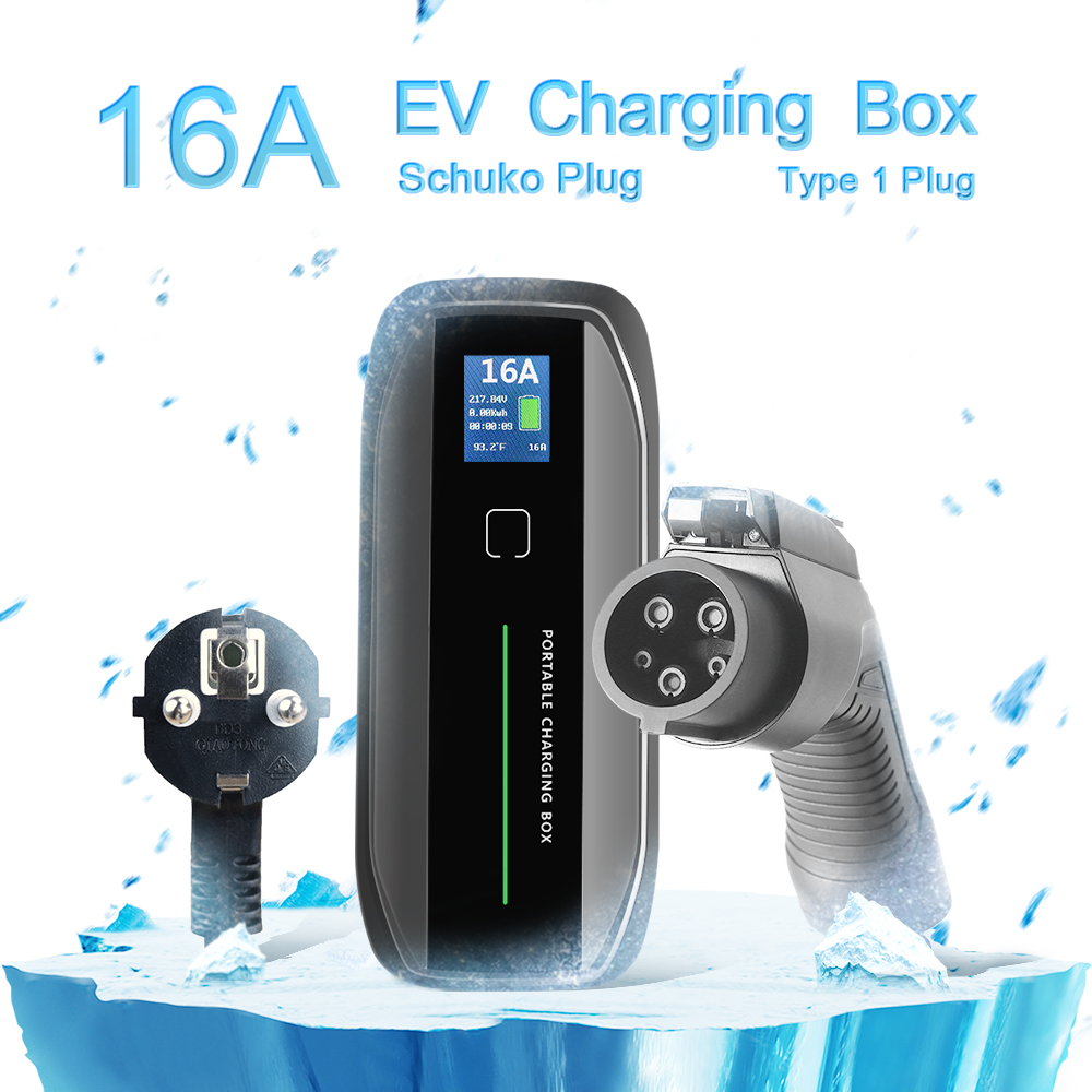 Type 1 16A Portable EV Charger + SCHUKO Plug + LCD
