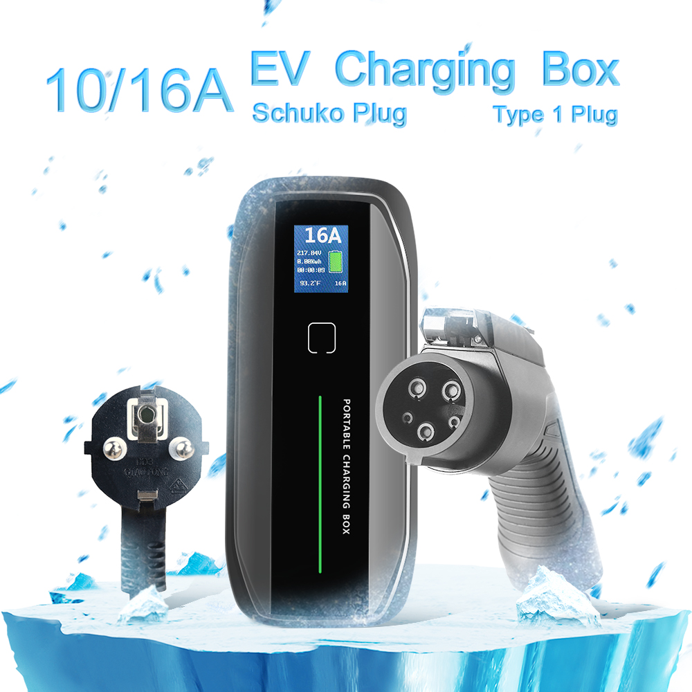Type 1 10/16A adjustable Portable EV Charger + SCHUKO Plug + LCD