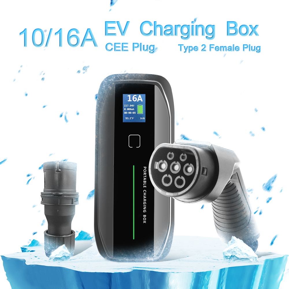 Type 2 10/16A adjustable Portable EV Charger + CEE Plug + LCD