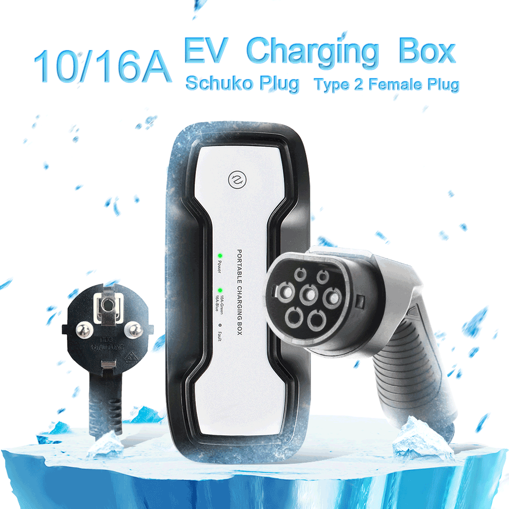 IEC 62196-2 10/16A adjustable Portable EV Charger + SCHUKO Plug