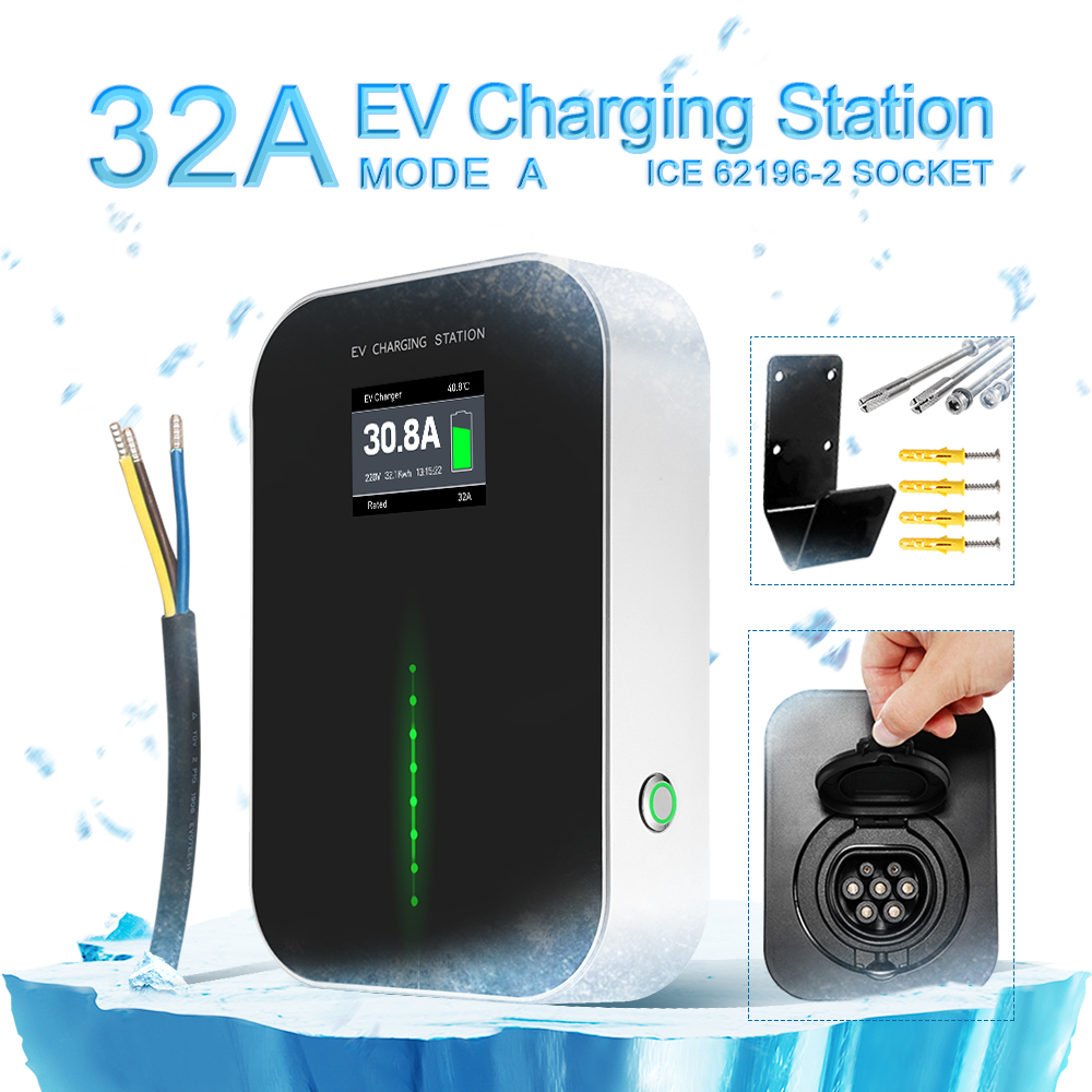 NEW 32A EV Charging Station with Type 2 Outlet(button switch)