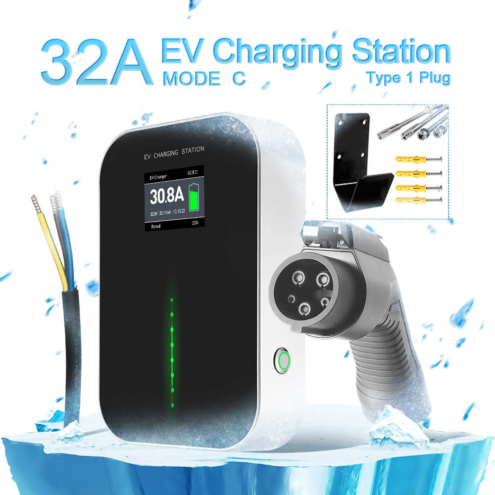 NEW 32A EV Charging Station with Type1 Plug (button switch)
