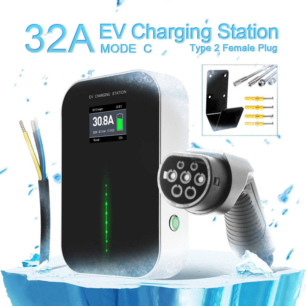NEW 32A EV Charging Station with Type2 Plug(button switch)