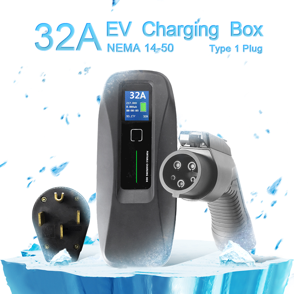 Type 1 32A Portable EV Charger + NEMA14-50 + LCD