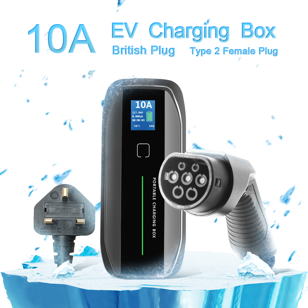 TYPE 2 10A Portable EV Charger + UK 3 pin Plug + LCD display